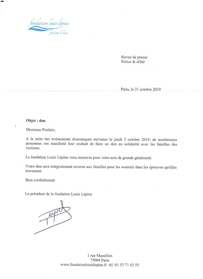 Lettre Fondation Louis Lépine 21 10 2019 suite don 1000 euros BLOG